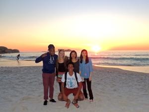 Sunset at Clifton with Dan, Hannah, Caroline, and Boakye