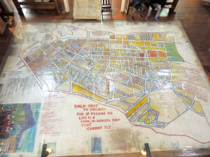 A map demonstrating racial segregation at the District Six Museum.