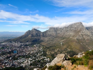 The view of Table Mountain from on top of Lion's Head