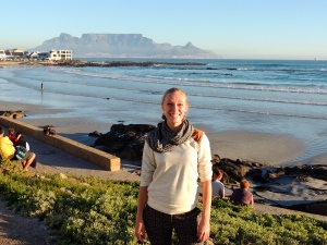 Outside The Blue Peter with Table Mountain in the background