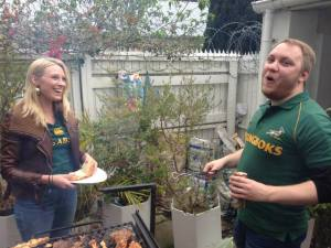 Dan and I manning the grill. You can see my awesome/giant burger in the top right hand corner getting its char on.