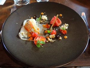 First course - Test Kitchen tomato, black sesame and aubergine puree, burnt aubergine jelly, goats cheese and aged balsamic