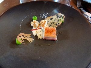 Third course - Confit pork belly, mustard, apple and sauerkraut