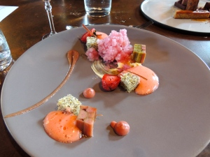 My dad would kill for this dessert. So many variations of strawberry and rhubarb. It was like summer on a plate.