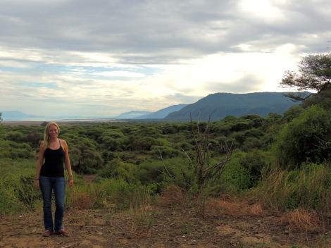 Standing over Lake Manyara