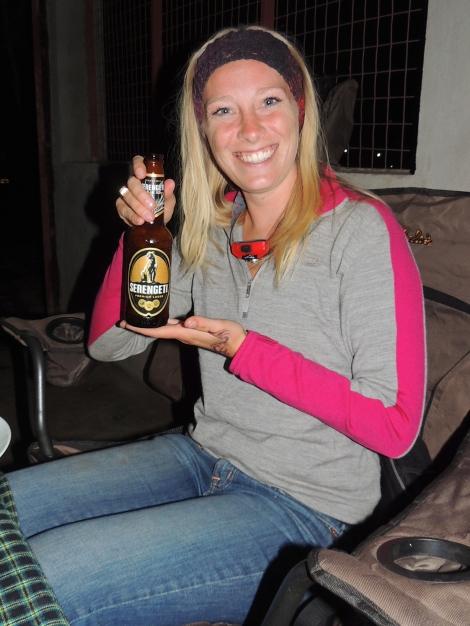 Drinking a Serengeti in the Serengeti! WOoooAH!