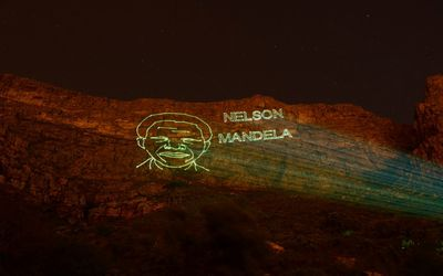 Table Mountain lit up at night