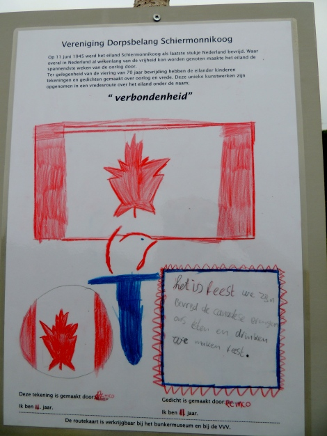 "The random Canadian flag drawing we found. Via google translate, the typed part reads:  On 11 June 1945, the island Schiermonnikoog was the last piece of the Netherlands liberated. Where everywhere in the Netherlands for weeks land of freedom was enjoyed orders made the island the most exciting weeks of the war. An opportunity to the celebration of 70 years of liberation are the islanders' children made drawings and poems about war and peace. These unique pieces are included in a peace route on the island under the name of ""solidarity."""