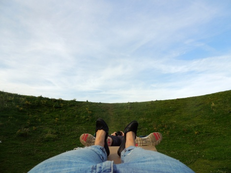 Lying on the bench in the crater