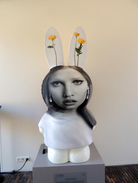 """Lara Barrymore as Miffy"" - I loved how weird this one was. The artists work in diptych or triptychs, so they made a triptych of Miffy using her ears, head and body. The ears, of a floral still-life, the face, of Lara Stone (a Dutch model), and, best of all, Drew Barrymore's body, which was described by the artists as 'androgynous.'  Not a word I would have ever selected for Drew Barrymore, but ok!"