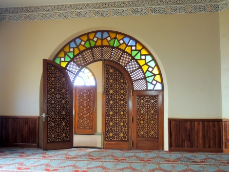 Door with stained glass - the majority of all materials were imported from surrounding countries.